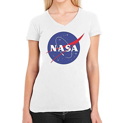 NASA Logo Space Raumfahrt Damen Outfit Damen T-Shirt V-Ausschnitt Large Weiß