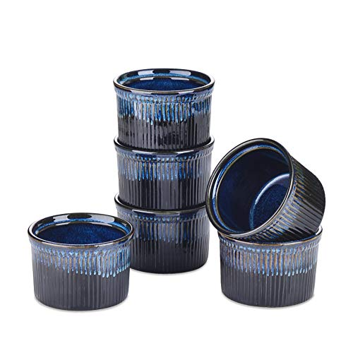 vancasso Ramekins, 10 oz Custard Cup, Ramekins For Creme Brulee, 6 Pcs Souffle Dishes, Baking Cups For Creme Brulee, Cupcakes And Pudding