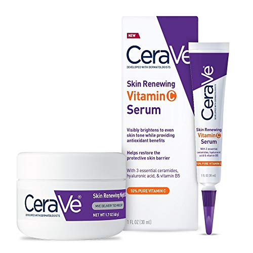 CeraVe Healthy Aging Skincare Duo | Contains 10% Pure Vitamin C Serum, 1 oz & Night Cream for Face 1.7 oz | Brightening & Hydrating Facial Skin Care