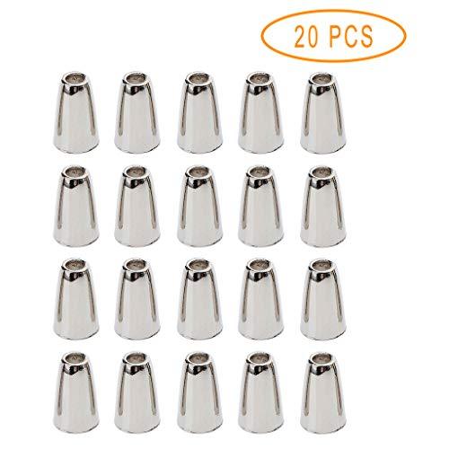 20x Kordelstopper Einloch, Kordelendstücke, Endstücke Glocke Form für Schnüre von Lanyard, Kleidung, Rucksack, Sportwear, Paracord - Silber
