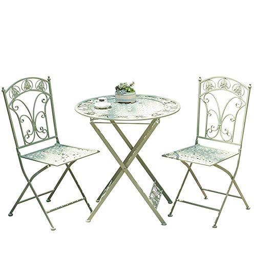 ZXY Mesa de jardín Combinación de Mesa y Silla de Color de Hierro Forjado Plegable para Exteriores, balcón de Hierro de Tres Piezas, Mesa de café Informal Creativa para Tienda de té,Verde