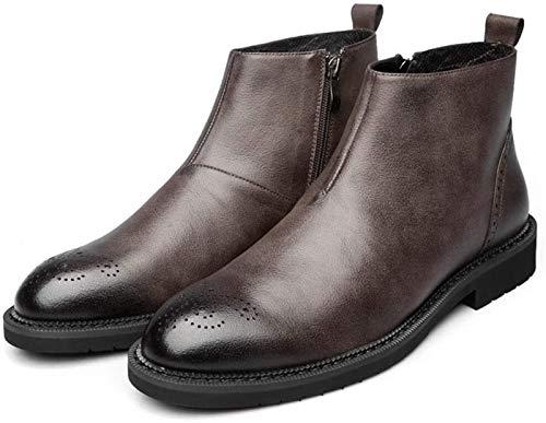 LXF JIAJU Zapatos de Hombre Piso Antideslizante Tobillo De Los Zapatos Botina Hombres, Tire del Estilo De La Cremallera Lateral Zapatos De Cuero Genuinos, Dedo del Pie Redondo Mate Carve Retro