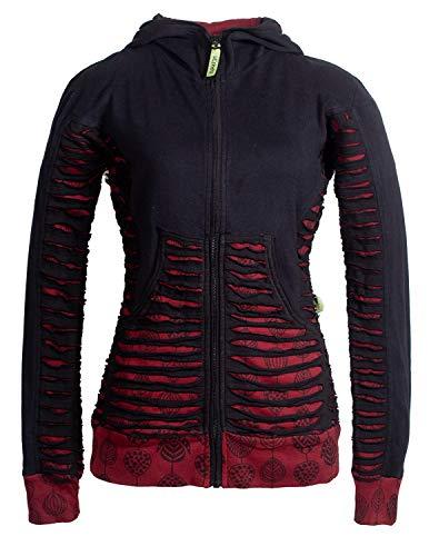 Vishes - Alternative Bekleidung - Bedruckte Damen Hoodie Kapuzenjacke Kangurutasche Gestreift mit Cutwork schwarz 40