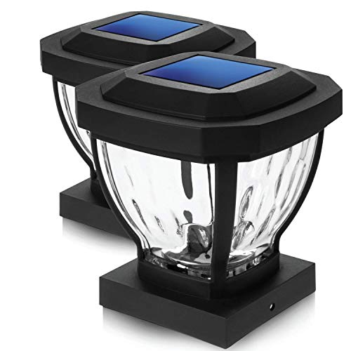 Home Zone Security Solar Post Cap Lights - Decorative Glass LED Outdoor 4x4 (3.5 x 3.5 in.) Post Lights, Black (2-Pack)