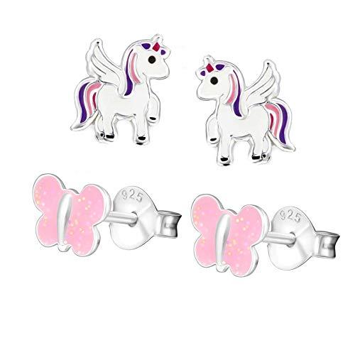 FIVE-D Set di 2 paia di orecchini per bambini a forma di unicorno con farfalla in argento 925 con custodia. e Argento, colore: rosa-viola, cod. set278a