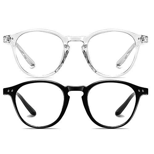Dollger Blue Light Blocking occhiale Uomini Donne Vintage Thick Round Rim Frame Occhiali, (Nero + trasparente), Geeignet für alle Gesichtsformen