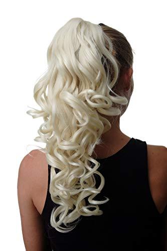 WIG ME UP ® - SA09-613 Extensión de pelo coleta larga rizada rizos 50 cm color rubio plata