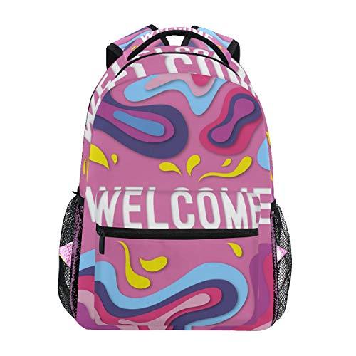 LORONA Zusammenfassung Willkommen Komposition mit Origami-Stil Lässiger Rucksack Schultasche Computer-Büchertasche Reisen Wandern Camping Tagesrucksack für Mädchen Jungen Männer und Frauen