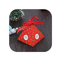 10個/ロットサンタクロースクリスマスキャンディーボックス紙ギフトボックスクリスマスプレゼントパーティーの好意装飾パッケージチョコレートクッキーボックス-クリスマスツリー-
