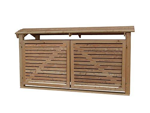 Massive Mülltonnenbox Holz, Modell Mailo H, für drei 240 Liter Mülltonnen