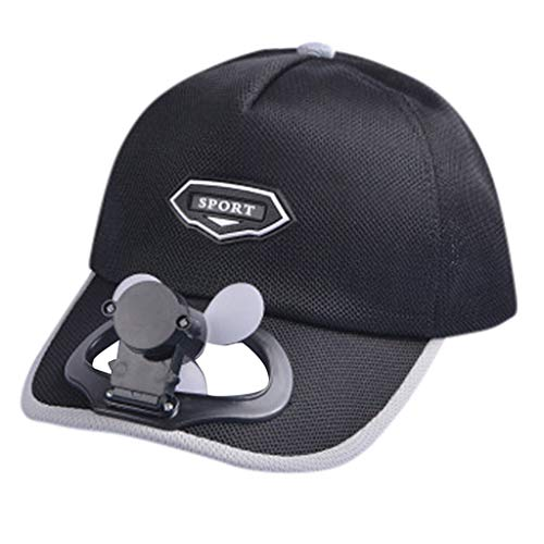 Transwen - Gorra de béisbol para Hombre y Mujer, con Ventilador, Ideal para Deportes al Aire Libre, para Pescar, Tenis, Polo, protección Solar, Carga por USB Negro Talla única