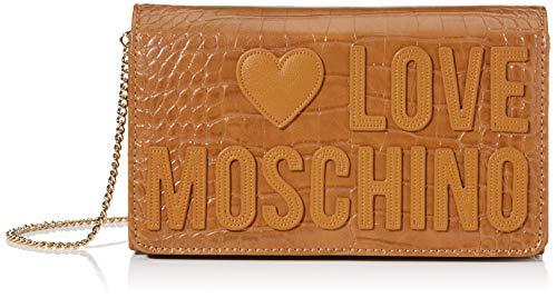 Love Moschino Croco PU, Borsa da Donna, Cammello,...