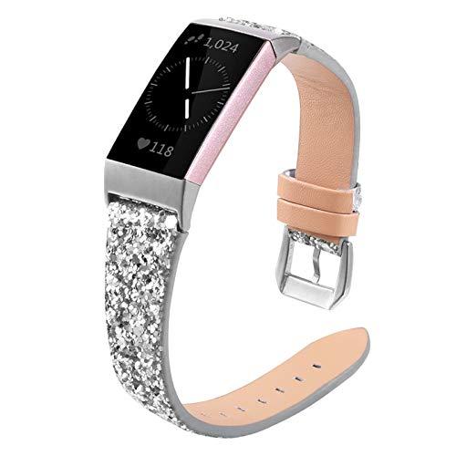 XIALEY Correa Compatible con Fitbit Charge 4/Charge 3, Mujeres Niñas Bling Glitter Pulsera De Cuero Brazalete De Repuesto Hebilla De Metal Pulsera para Charge 3 / Charge 4,Plata