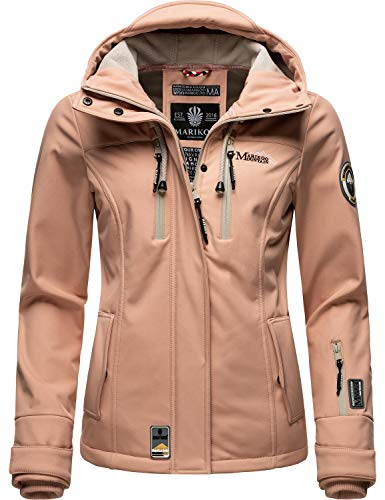 Marikoo Damen Softshell-Jacke wasserdichte Outdoorjacke mit Kapuze Kleinezicke Rose Gr. XXL