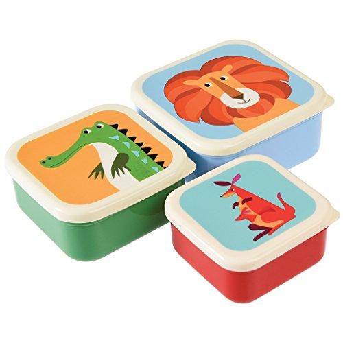 dotcomgiftshop - Juego de 3fiambreras con figuras coloridas de animales