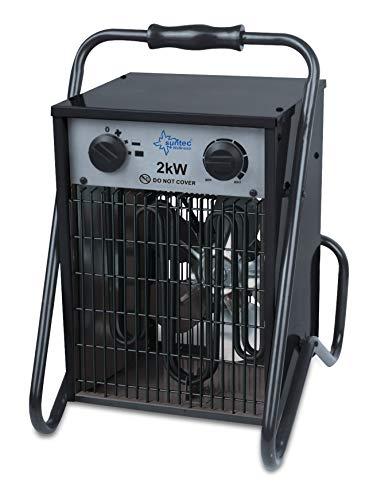 SUNTEC Industrie-Heizlüfter Heat Cannon 2000 - Elektroheizgebläse 2000 Watt | 3 Leistungsstufen, Tragbar | Bauheizer Elektrisch Energiesparend | Heizgebläse für Baustelle, Werkstatt