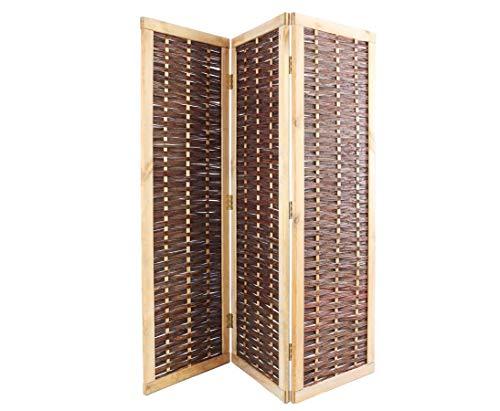bambus-discount.com Raumteiler als Weiden Paravent 3teilig mit 180x180cm, Blick- und Windschutz