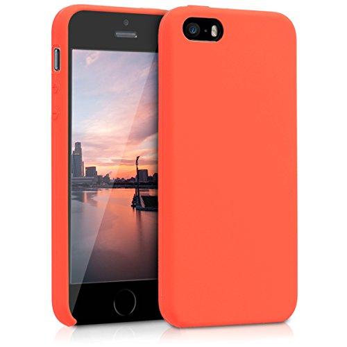 kwmobile Funda Compatible con Apple iPhone SE (1.Gen 2016) / 5 / 5S - Carcasa de TPU para móvil - Cover Trasero en Naranja neón