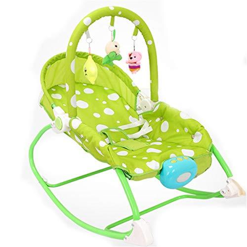 Xiao Jian- Fauteuil à Bascule pour bébé Réconfortant Allongé Berceau Lit Shaker Section de Musique Bleu Vert Rose Chaise berçante bébé (Couleur : Green)