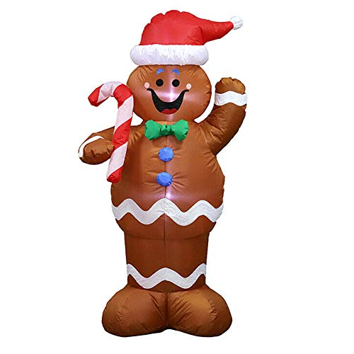 Finetoknow 5ft Xmas Balloon Inflatable Christmas Gingerbread Boy Gingerman with LED Light Hold Candy Stick Decor Ornament Display for Indoor Outdoor Festival Party