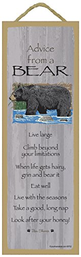 SJT ENTERPRISES, INC. Advice from a Bear Primitive Wood Plaque Sign, 5' x 15' - Licensed from Ilan Shamir and Your True Nature (SJT69702)