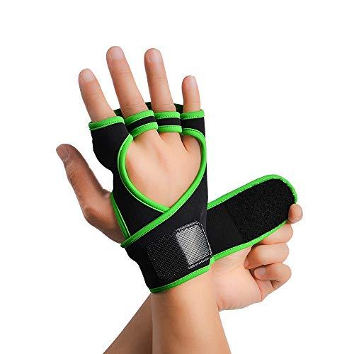 Sporttrainingshandschuhe Männer und Frauen Stretch Tuch Fitness Half Finger Anti-Rutsch-Palmen-Schutz-Handschuhe, Gewicht zu verlieren Geeignet for Übung Klimmzüge Kettlebells Kreuzheben