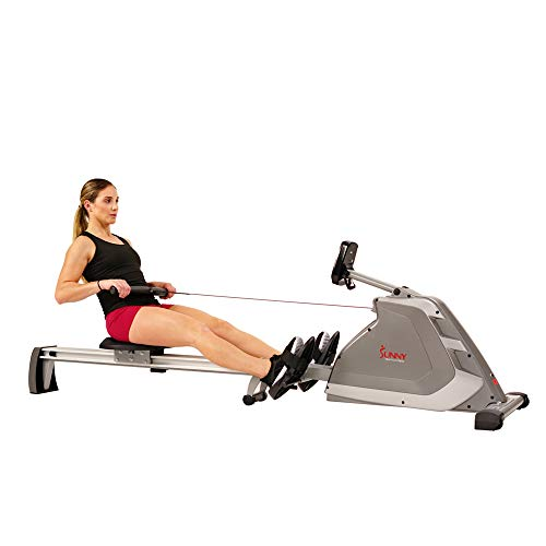Sunny Health & Fitness Magnetic Rowing Machine Rower with Dual Resistance, Programmable Monitor, 300 LB Max Weight and Foldable Quiet Aluminum Slide Rail - SF-RW5854,Gray