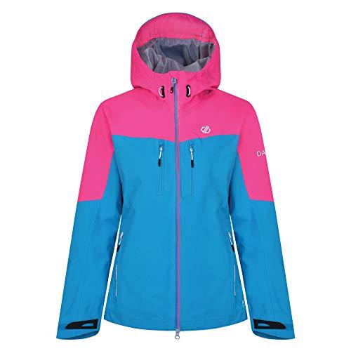 Dare 2b Damen Surfiest Waterproof And Breathable Hooded Outdoor Hiking Jacke, Blue Jewel/Cyber Pink, 40 (Herstellergröße: 14)