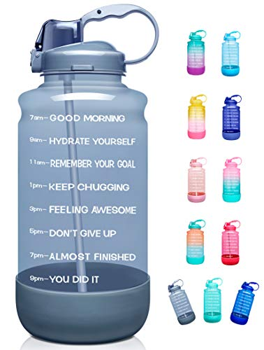 Elvira Half Gallon/64oz Motivational Time Marker Water Bottle with Straw & Protective Silicone Boot, BPA Free Anti-slip Leakproof for Fitness, Gym and Outdoor Sports-Gray