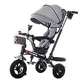 Bicicleta de Triciclo para Cochecito de bebé Exclusivo para niños de 1-6 años Carretilla para niños | Reposabrazos Ajustable | Embrague | Arnés de Seguridad | Frenos | Portavasos