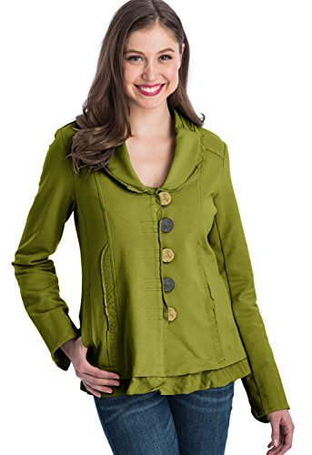 Neon Buddha Women's Soft Cotton Jacket Blazer with Pockets, Ruffled Hems