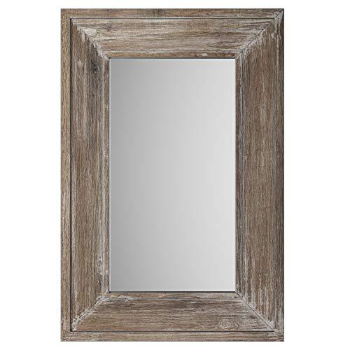 Barnyard Designs Espejo decorativo de pared con marco de madera envejecida, gran decoración rústica, para colgar vertical u horizontal, para baño, sala de estar o dormitorio, 91,4 x 60,9 cm