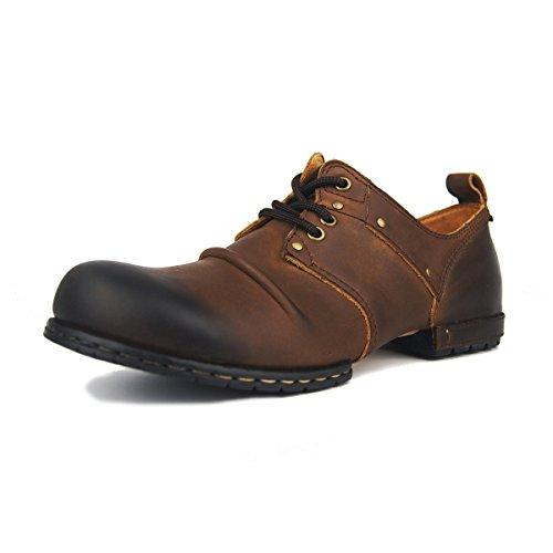 Suetar Herren Handgefertigte Vintage Schnürung Leder Derby Schuhe, Braun, 46EU=285mm
