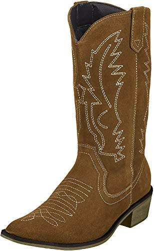 Kick Footwear Damen Western Leder Cowboy Stiefel Spitz Zehen Damen Breite Kalb Stiefel - UK 9/EU 42, Tan Suede