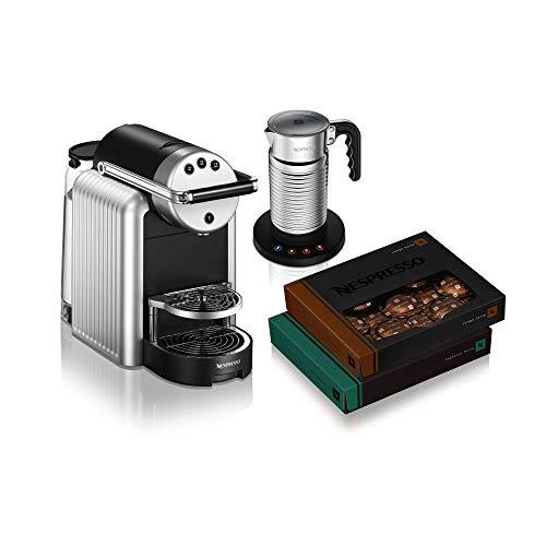 NESPRESSO Zenius - Starter pack per macchine da caffè, include Aeroccino4 (montalatte e 12 tazzine da cappuccino, ideali per piccoli uffici o sale riunioni, confezione iniziale argento
