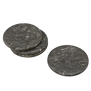Creative Home Genuine Charcoal Marble Stone Coaster (Set of 4), 4 , Gray