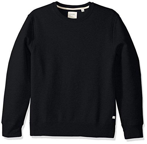 Billy Reid Men's Pullover Dover Crew Sweatshirt Elbow Patches, Dark Midnight/Brown Leather, XL