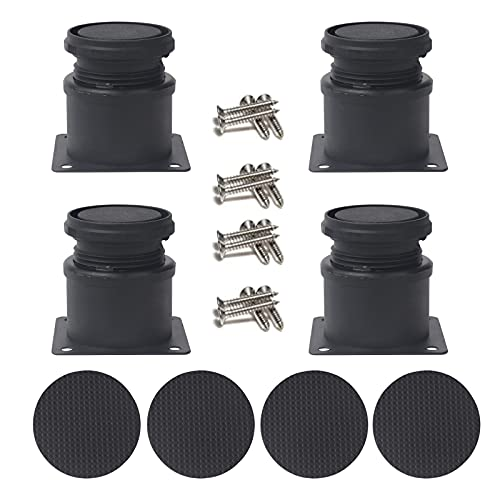 ZHOUSTOU 4 patas ajustables de metal negro 50 x 50 mm, altura 0 – 15 mm, patas niveladoras gruesas para muebles, sofás, armarios, estanterías con tornillos y deslizadores antideslizantes para muebles