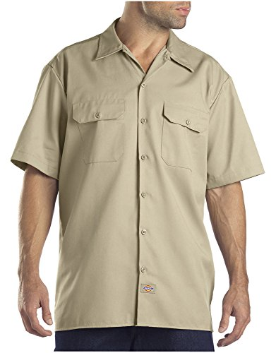 Dickies Men's Short-Sleeve Work Shirt, Desert Sand, Large