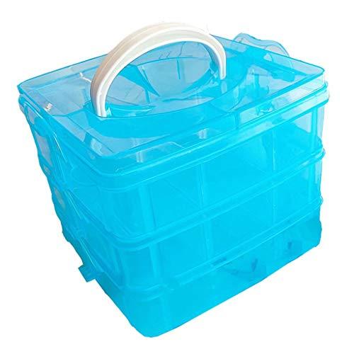 Organizador de caja de almacenamiento de artesanía de plástico con ranura de compartimento ajustable apilable transparente de 3 niveles para joyería de escritorio de juguete, azul, 14,5 cm × 12,3 cm