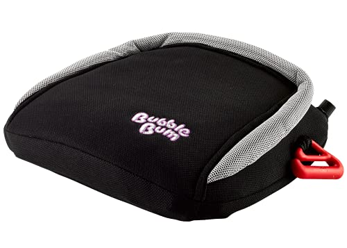 BubbleBum Inflatable Booster Car Seat - Narrow | Slim | Backless | Portable | Foldable | Travel Booster - Comfortable, Compact and Convenient - Perfect for Vacations, Carpooling and 3 Across - Black