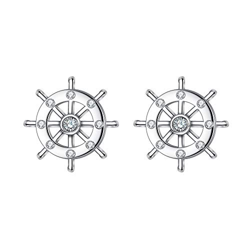 EVER FAITH 925 Sterling Silver CZ Nautical Ship Wheel Daily Stud Earrings Clear