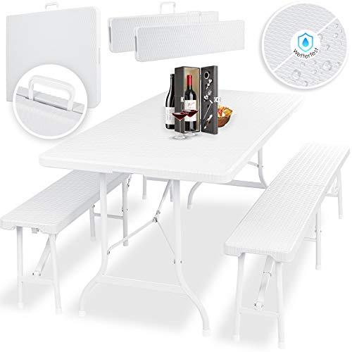 KESSER® Bierzeltgarnitur - 3-teilig Set, Tisch + 2 x Bank, für drinnen - draußen, klappbar, Tragegriffe, HxBxT: 73x180x75 cm, Kunststoff, Rattan-Look Gartengarnitur, Klapptisch, Gartentisch, Weiß