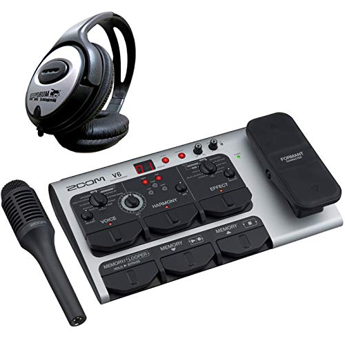 Zoom V6 - Dispositivo de efectos para procesador de voz vocal y auriculares Keepdrum