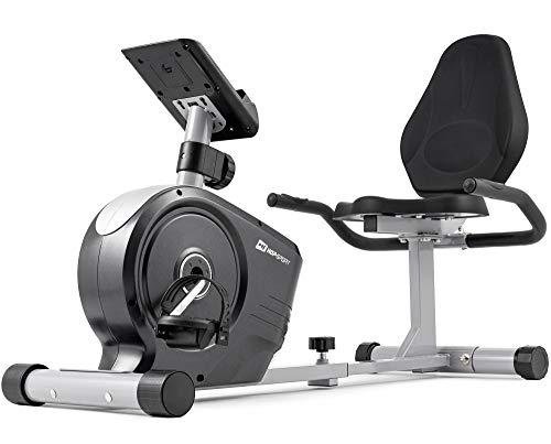 HOP-Sport Vélo d'appartement Semi-Allongé HS-2050L Beat - Masse d'inertie 8 kg- Siège réglable avec Dossier - roulettes de Transport (Argente)