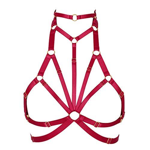 PETMHS Mujeres Sexy Body Arnés de pecho Sujetadores exóticos Cinturones ahuecados Punk Gothic Strappy Tops Festival Danza Rave Wear Art Clothing (Vino rojo)