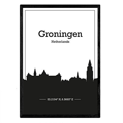 Nacnic Poster con Mapa de Groningen - Holanda. Láminas con Skyline de Ciudades de Europa con Sombra Negra. Tamaño A3