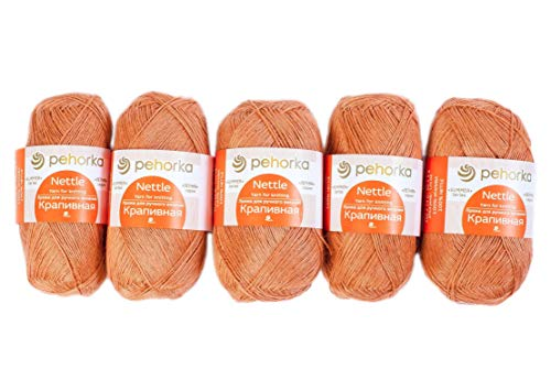 PEHORKA 100% Nettle 5 Skein Set 50g Each Yarn for Knitting and Crochet for Summer 5 ply LACE Natural Linen Like Yarn Silky Smooth (636 Burning Sand)