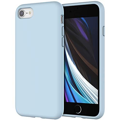 JETech Silicone Hülle Kompatibel iPhone SE 2020, iPhone 8 & iPhone 7, seidigem Ganzkörper-Schutzhülle, mit weichem Mikrofaser-Innenfutter stoßfestes Abdeckung, Hellblau