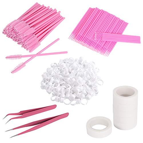 Leevia Kit de extensión de pestañas, 100 anillos de soporte de pegamento, 100 cepillos micro para pestañas, 6 rollos de cinta para pestañas, 50 unidades, 2 pinzas para pestañas postizas